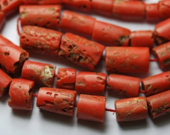 7 Inch Full Strand,NATURAL ITALIAN CORAL Smooth Tube Shape Beads,9-11mm Size,