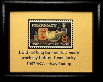 Pharmacy USA -Handmade Framed Postage Stamp Art 0599W