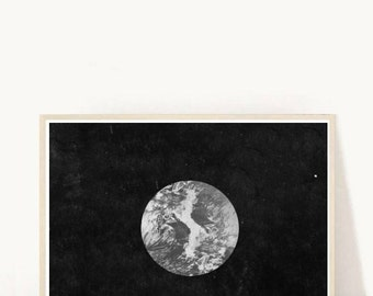 Moon Photo, Abstract Photo, Moon Photography, Black and White Photo,  Printable Art, Instant Download, Modern Wall Art