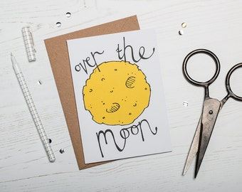 Congratulations, Celebration Card- Over the Moon Card - Screen Printed Greetings Card
