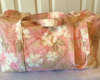 Quilted Pink Floral Weekender Travel Bag