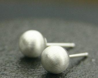 Sterling Silver Stud Earring - Matte Silver Ball Earrings - Large Stud Earrings with Matte Finish ( 8mm ) handmade jewelry silver earrings