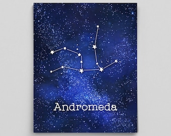 Andromeda Constellation Print Constellation Art Outer Space Art Graduation Gifts for Her Custom Constellation Prints for Her Prints for Him