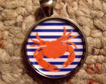 Crab Image Pendant Necklace-FREE SHIPPING-