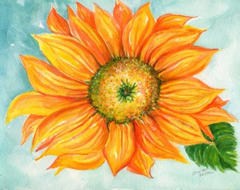 Sunflower watercolor painting original 9 x 12 sunflower decor, sunflower painting SharonFosterArt floral