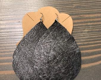 Charcoal metallic teardrop earrings