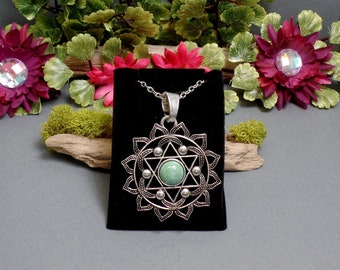 Turquoise Heart Chakra Necklace - Anahata Neclace - Chakra Symbol - Yoga Necklace - Chakra Jewelry