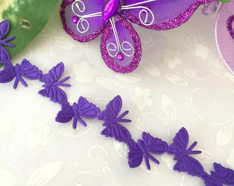 Purple Satin Butterfly Trim For Crafting, Scrapbooking, Party Favors, Embellishment Favor Boxes, Card Making, 0.75 inch / 19 mm Wide