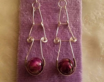 Handmade Sterling Silver Three Tier Purple Bead Earrings