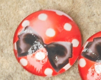 Glass cabochon 25 mm with polka dots