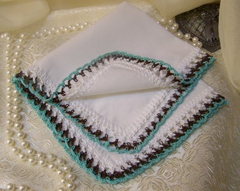 Bridesmaids Handkerchief, Bridal Party Gift, Hand Crochet, Custom Colors, Ladies Hanky, Lace Hankie, Personalized, Ready to ship