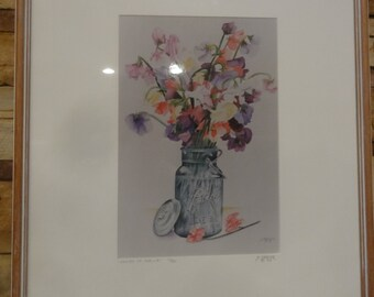 "Vintage 1993 Ball Canning Jar Watercolor / Titled"" Colors of Spring"" Signed S. Medler"