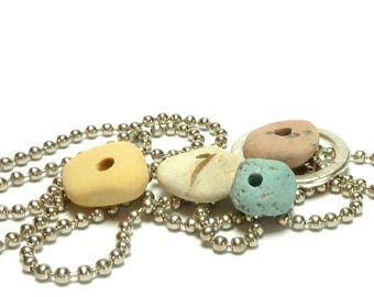 Sea Slag Glass PASTELS Stone Pebble Set Natural White Blue Pink Stone Mix Rock Donut Jewelry Rondelles Organic Beads