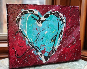 S'Mores Heart original acrylic painting on canvas