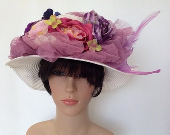 A White Weave Hat With Purple Flowers For Church,Tea Garden Party Or Any Outdoor Occasions