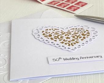 50th Wedding Anniversary Card - Golden Wedding Anniversary - 50th Anniversary Card - Golden Anniversary Card -  Fiftieth Anniversary Card