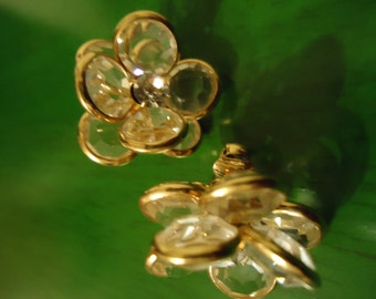 Vintage 1980s Boho Gold and Glass Flower Clips
