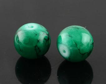 20 8mm glass painted beads, Emerald with black mottling
