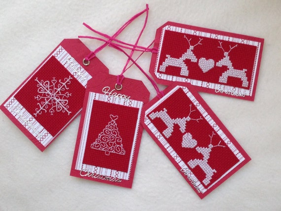 Items similar to Christmas Cross Stitch Gift Tags - Pack ...
