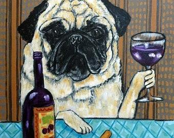 25% off pug art - Pug fawn Pug at the wine bar dog art tile coaster gift modern - pug gifts