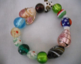 Multicolored Glass Beads Bracelet. Rose Heart Bracelet. Women's Stretched Beaded Bracelet.Gift for her, girlfriend, wife.