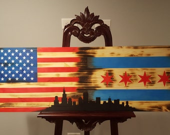 American and Chicago Flag with City Skyline