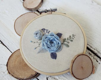 Blue flowers, Floral embroidery, Hand embroidery, Wooden hoop, Linen fabric,  Unique decor,  Home decor, Wall Art, Housewarming gift