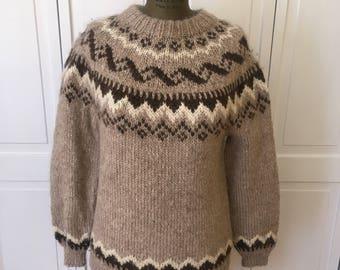 Free shipping Vintage Bespoke Custom Hand knit Fair Isle Wool sweater