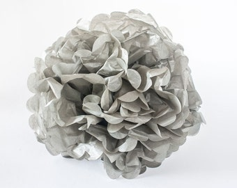 "CLEARANCE - Grey tissue paper Pom Pom.  12"".  Paper decorations. Party decor.  Tissue poms.  Hanging party decoration.  Hanging decor."