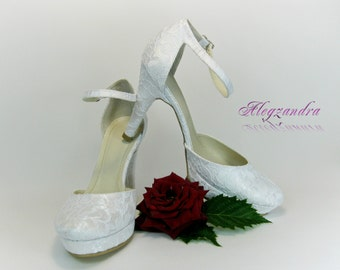 Lace Bridal Shoes, Platform Wedding Shoes, Bridesmaid Shoes, Ivory Wedding Shoes, White Wedding Shoes, Prom Shoes, Evening Shoes