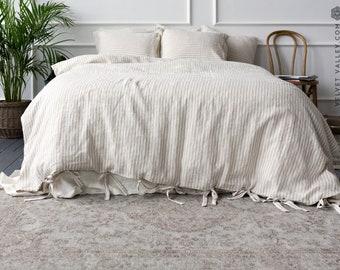 Pinstripe bedding- comforter cover- striped linen duvet- stone washed linen doona cover -Pinstriped duvet cover-Doona cover