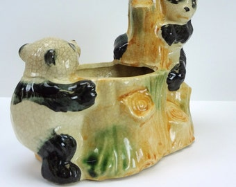 Pandas Planter // Wood Stump Planter // Pandas // Vintage Planter // Made in Japan // Vintage Home Decor