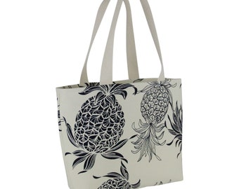 Small Shopping Tote Deluxe-Pineapple in Cotton Bark Crepe