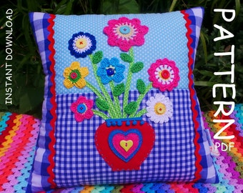CROCHET PILLOW PATTERN, Valentines day gift Applique Cushion Pattern Patchwork Pillow pattern Crochet applique pattern, Valentine's gift Pdf