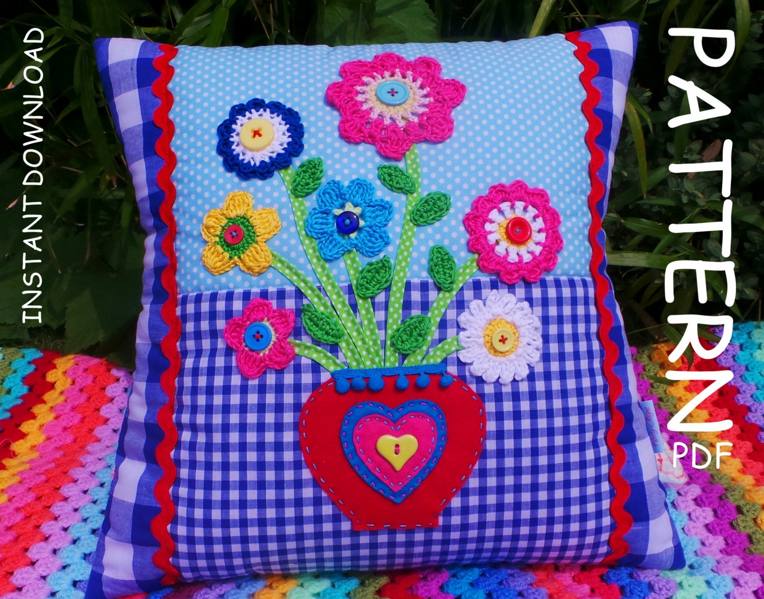 CROCHET PILLOW PATTERN, Valentines day gift Applique Cushion Pattern ...