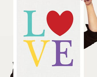 LOVE print, colourful art kids nursery art, love heart print, typography tyopocraphic print, love art, kids print, love sign, love artwork
