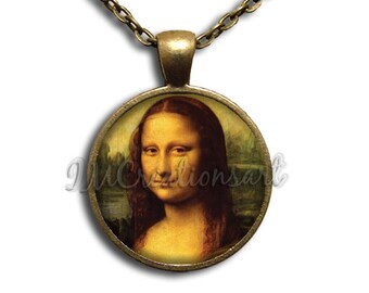 Mona Lisa Painting Wearable Art Glass Dome Pendant or with Chain Link Necklace AP131