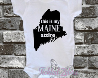Maine ME This Is My MAINE Attire Home State Baby Bodysuit, Toddler, Youth, Adult Shirt - Crab - Baby Shower Gift - Boy / Girl Birthday
