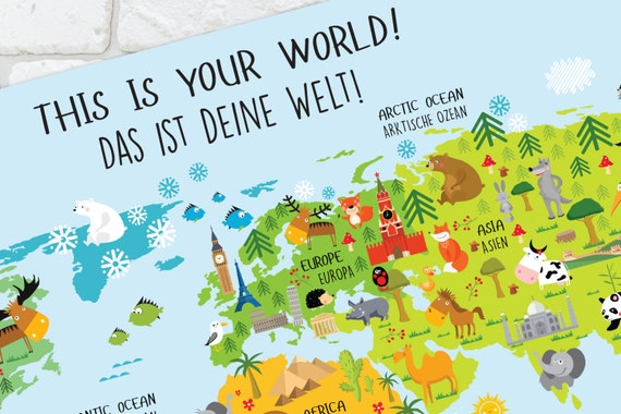 world map german baby gifts german poster world map wall art germany german gifts baby shower gift nursery decor kids gift
