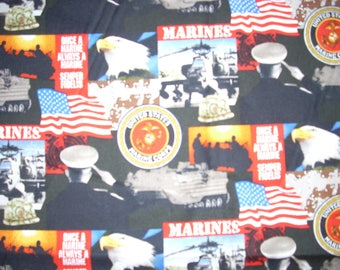 United States Marines  -  Cotton Fabric - 15 inches wide - sold by the yard