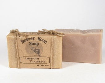 Handmade Soap Lavender Tangerine Natural Scented Soap-4oz-Bath Soap Bar-Handcrafted-Essential oil-Bar Soap-Homemade Soap Cold Process