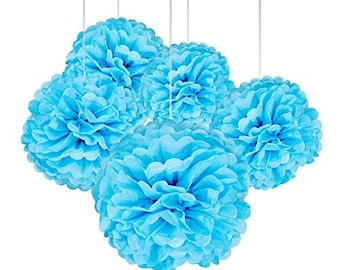 15 Pcs 14 Inch, 12 Inch, 10 Inch Tissue Paper Pom Poms Flower Balls For Birthday Wedding Baby Shower Party Decorations (BLUE SET)- Kaleiddo