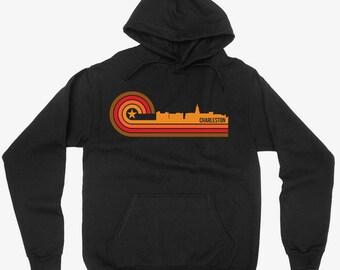 Vintage Retro 1970's Style Charleston South Carolina City Skyline Hoodie