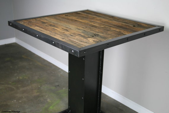 Industrial Bistro Table. Modern Style Dining Table. Reclaimed Wood And  Steel Bistro Table. Rustic Restaurant Furniture. Urban Bar Furniture.