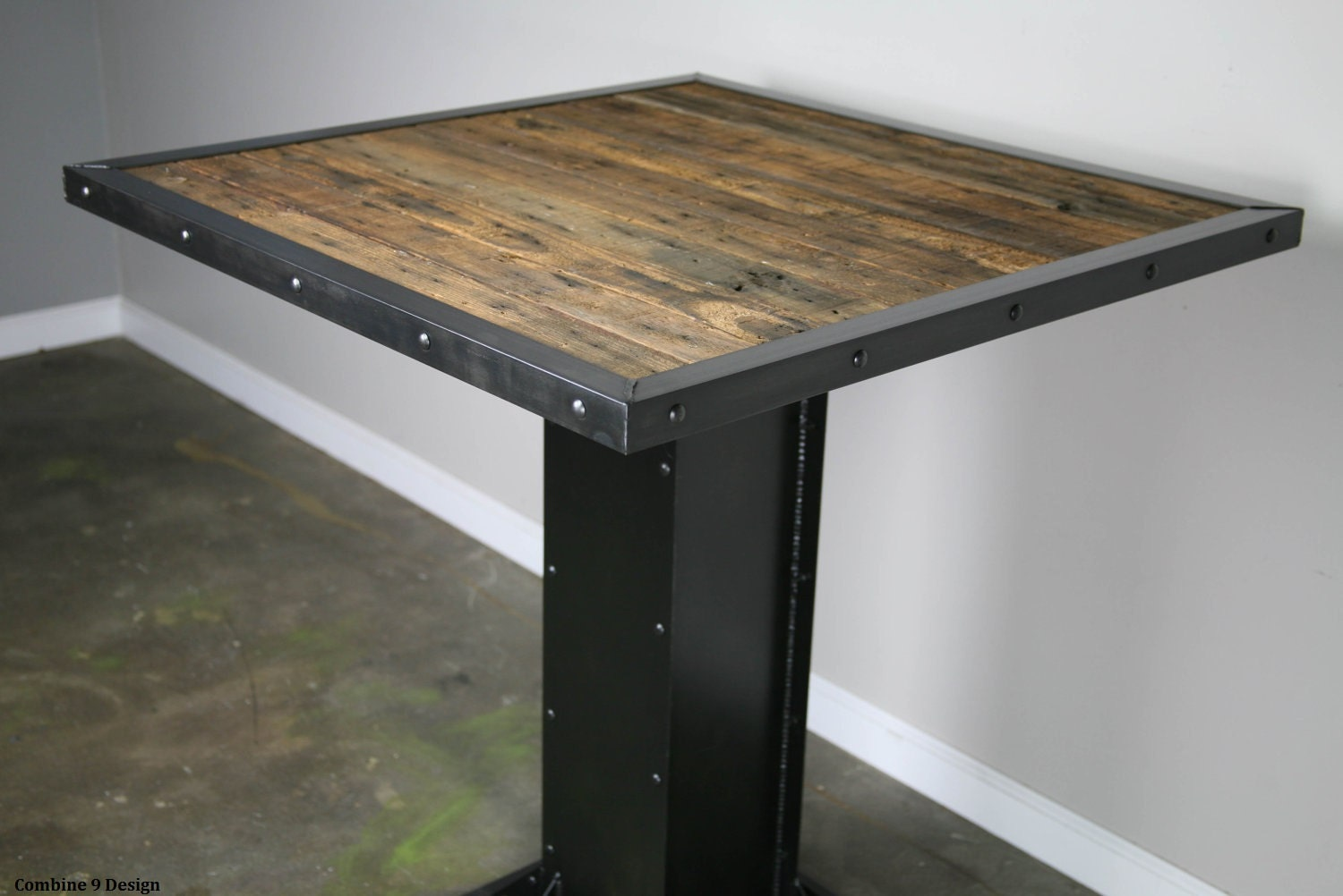 Industrial Style Len industrial bistro table modern style dining table reclaimed