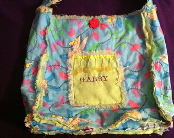 "TINKERBELL.. Quilted  SLOUCH TOTE . 17""x 15""   ""Rag"" Design"