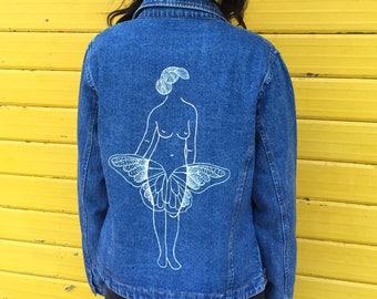 MARIUSZTRUBISZ #5 hand painted vintage denim jacket