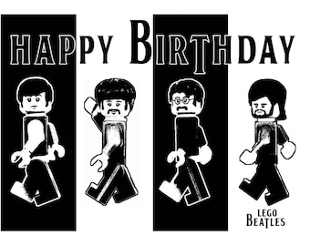Beatles cards etsy lego handcrafted birthday card the beatles 7 x 5 ins bookmarktalkfo Choice Image