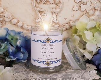 11.oz Louisiana Van Van Candle, Jar Candle, Clear Candle, Open Doors