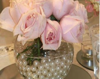 Pink Rose Vase with Pearls